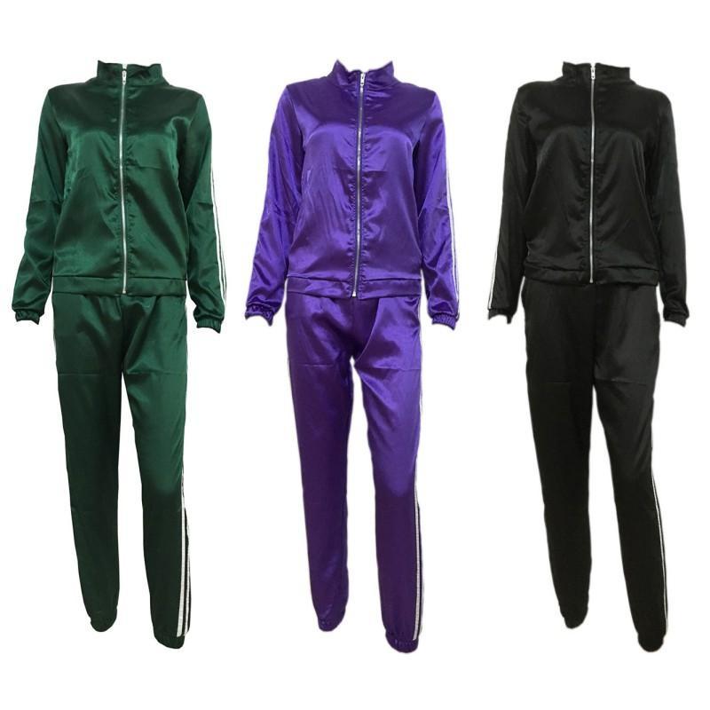 Fashion Autumn Tracksuit Women Purple/Green Sweatshirt+Long Pants Zipper Leisure Suits Clothes