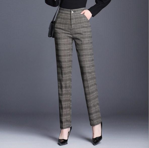 2452765bedc 2019 OL Style Womens High Waist Vintage Plaid Pants For Women Straight Suit Pants  Plus Size Elastic Waisted Trouser Female 7XL 9XL From Dingyuxuan