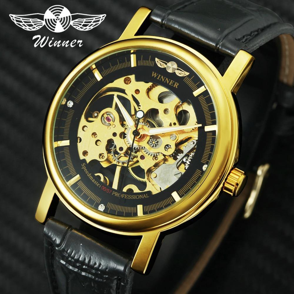 c4e9feb9376c Compre Ganador Oro Mecánico Reloj Hombres Correa De Cuero Esqueleto Dial  Royal Fashion Relojes De Viento Mano Para Hombre Top Brand Luxury A  32.37  Del ...