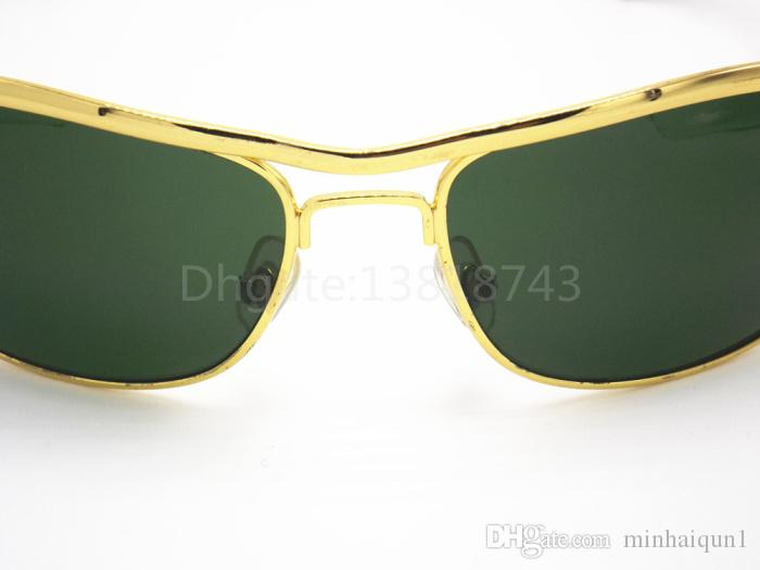 High Quality Classic Sunglasses Designer Brand Mens Womens Sun Glasses Eyewear 62mm Gold Metal Frame Green Glass G-15 UV Lenses