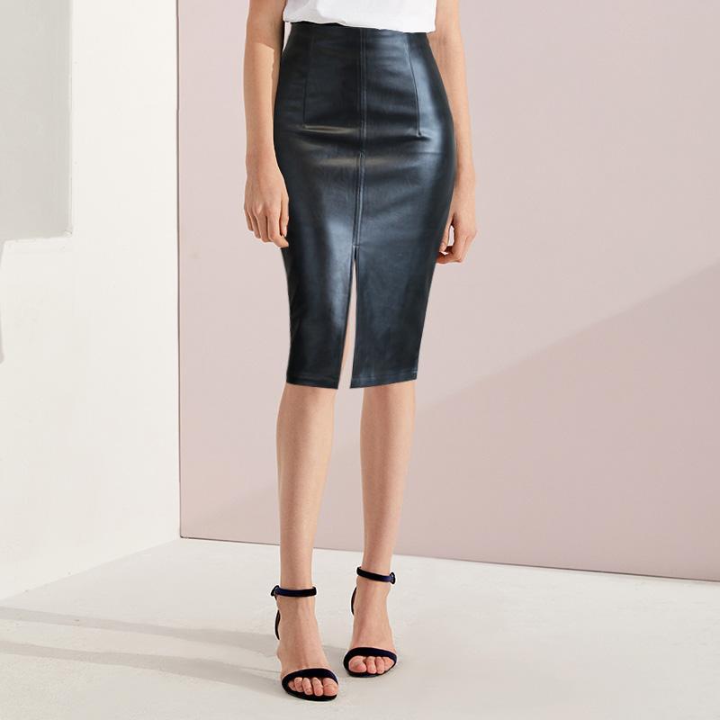 5e5279cbca19 2019 Leather Skirt Plus Size Women Skirts Black Bandage Midi Pencil Skirt  Knee Length Office High Waist Pu Leather Female 2018 From Elizabethy