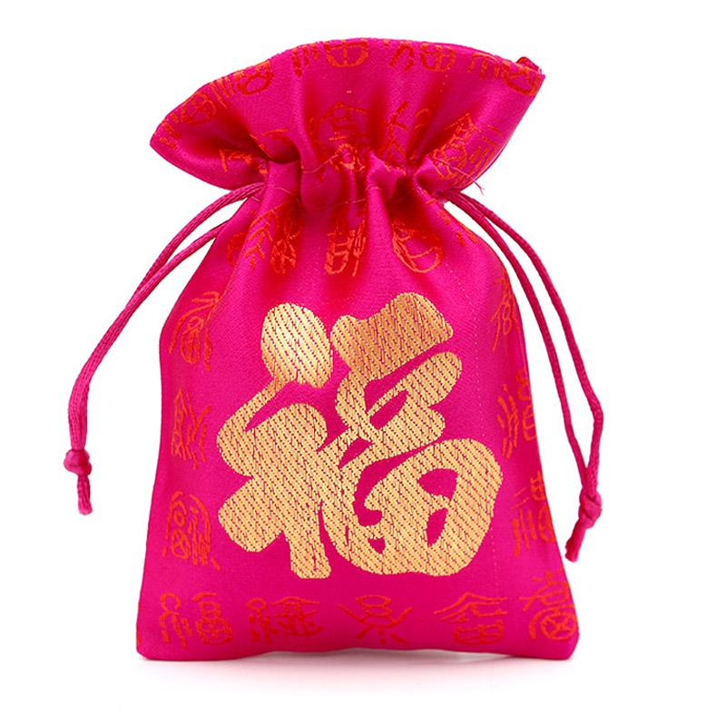 Jewelry Pouches Small Accessory Packaging Display Fabric drawstring bag Red Vintage Chinese Lucky Word FU Pouch Coins Bags