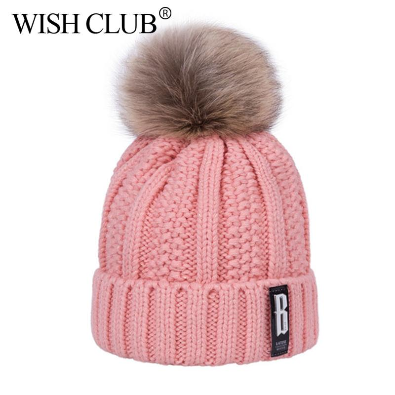 a736e56a8a2 WISH CLUB Fashion Skullies Beanies Pompons Winter Hats For Women Knitting  Cap Hat Girl  S Ball Warm Thick Female Cap Gorros Cheap Hats Women Hats  From ...