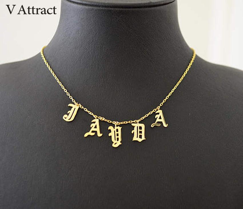 5488c3ebd0add V Attract Gothic Choker Old English Name Necklace Personalized Number  Nameplate Gold Color Collier Femme Custom BFF Jewelry Gift