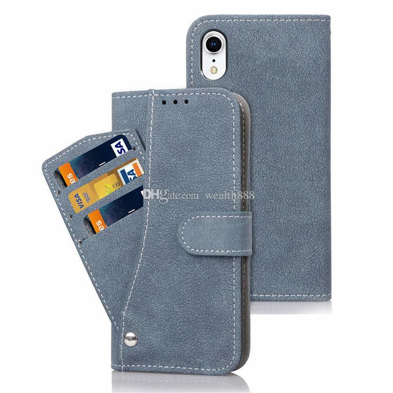 25c5bd745705 Vintage Retro Frosted Leather Wallet Case Phone Cases Flip Stand Cover For  iPhone XS Max XR X With Photo Frame Card Holder Pocket