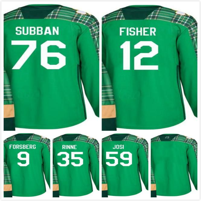 2018 St. Patricks Day Nashville Predators Mike Fisher 35 Pekka Rinne ... f8ef8b67f