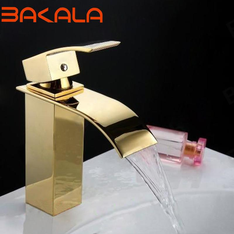 2019 Basin Faucets Brass Bathroom Faucet Golden Finished Sink Mixer