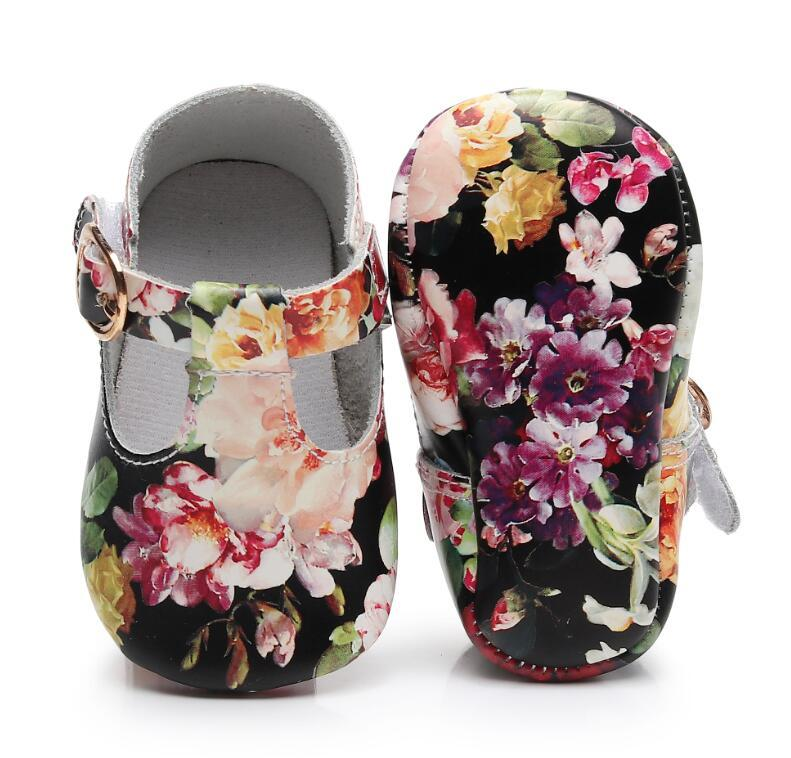 9b4accd5d7f2 2019 Floral Style Genuine Leather Baby Girls T Bar Mary Jane Shoes Infants Toddler  Baby Moccasins Kids Princess Ballet Shoes From Cornemiu