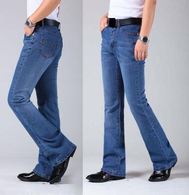 70b437d9958bd Compre Pantalones Vaqueros De Pierna Acampanada Para Hombre Pantalones De  Cintura Alta Largos Pantalones Acampanados Para Hombres Bootcut Blue Hommes  Plus ...
