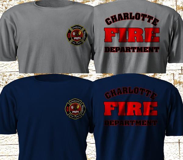 New Charlotte Nort Carolina Fire Department Firefighter Navy Gray T