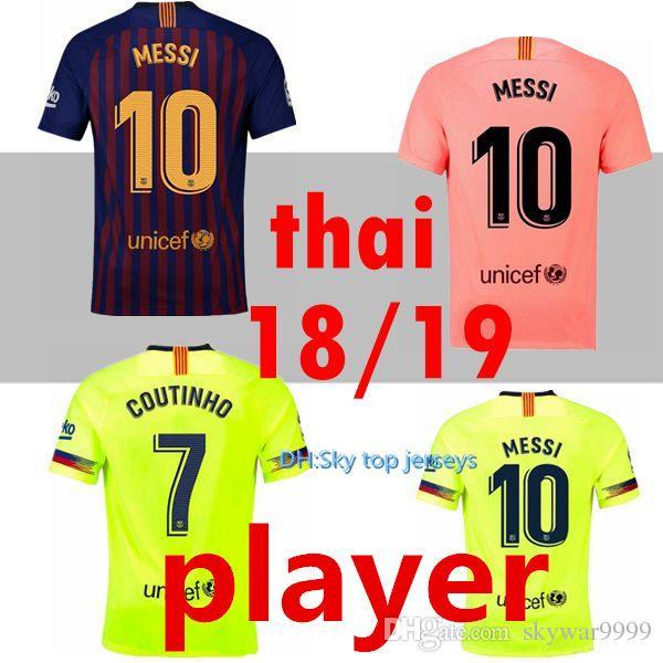 VERSIÓN JUGADOR 2018 2019 Barcelona MESSI Soccer Jersey Rosa Hombre Kits 18  19 Suárez DEMBELE COUTINHO Camiseta De Fútbol De Calidad Superior  Tailandesa Por ... ad44fdb80512a