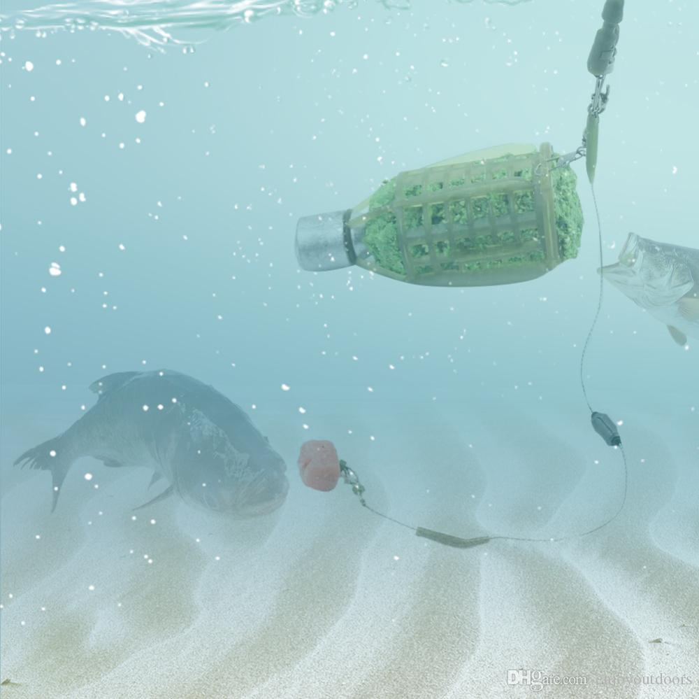 All'ingrosso-Pesca Feeder Bait Cage Fishing Lure Holder Basket con Piombo Sinker, 30g, 40g, 50g, 60g, 80g Pesca Trappola Accessori