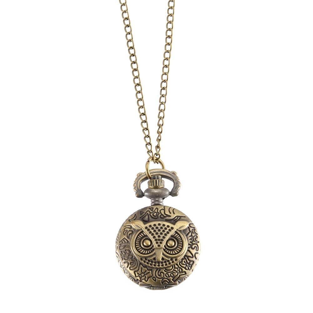 Montre De Poche Vintage Couleur Bronze Montre À Quartz Cool Chain Owl Pattern Montres LL @ 17
