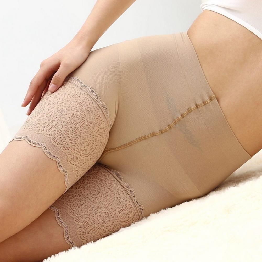 f0ce99255 Mujeres sexy pantalones cortos de seguridad de verano de cintura alta  elástico anti chafing pantalones cortos de encaje chica suave fina  boxeadores ...