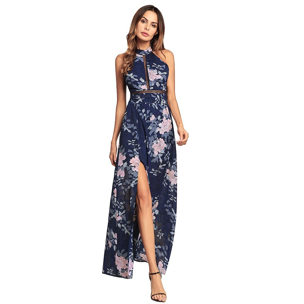 efc85e837b02 2019 Spring And Summer New European Best Selling Women'S Backless Holiday Beach  Dress Hanging Neck Chiffon Dress From Mikico568, $51.26 | DHgate.Com