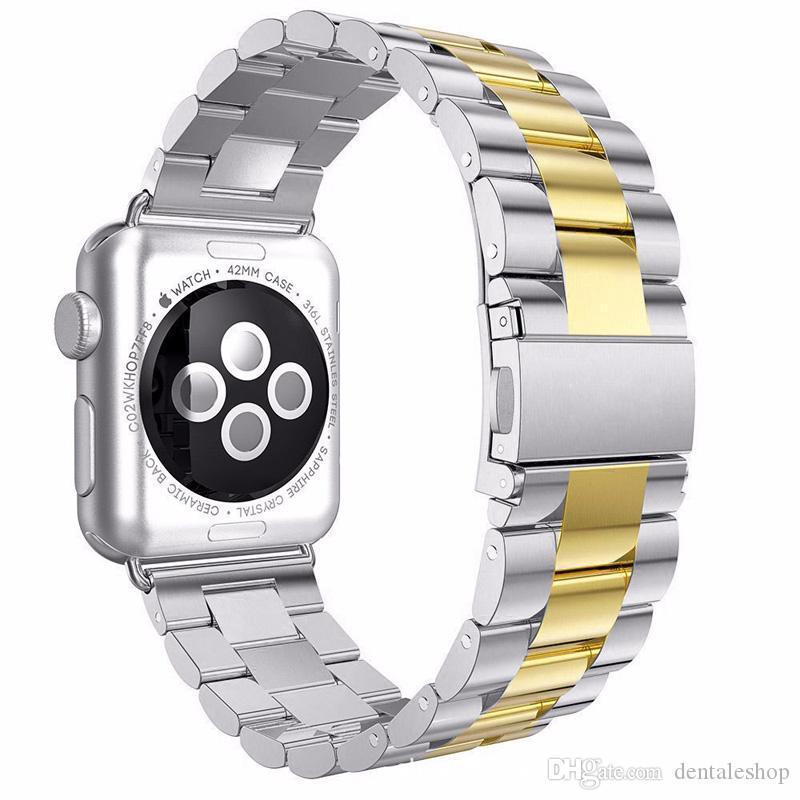 Epacket Stainless Steel Band Bracelet Straps With Adapter Connector for Apple Watch Series 1 2 3 iWatch 38mm/42mm