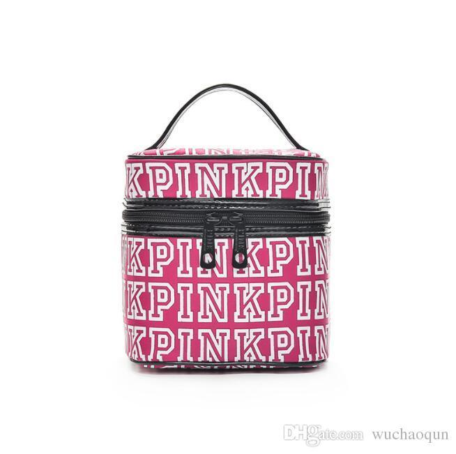 Makeup Bag Women Love Pink Cosmetic Bags Classic Portable Double