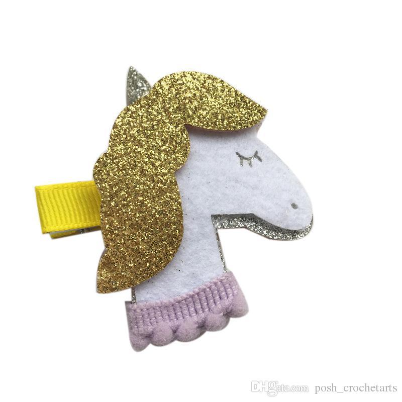 Unicorn Hair clips for Baby Toddlers Glitter Felt Unicorn Barrettes Unicornio Handmade Hair Accessories Unicorn Birthday Party Gifts Ideas