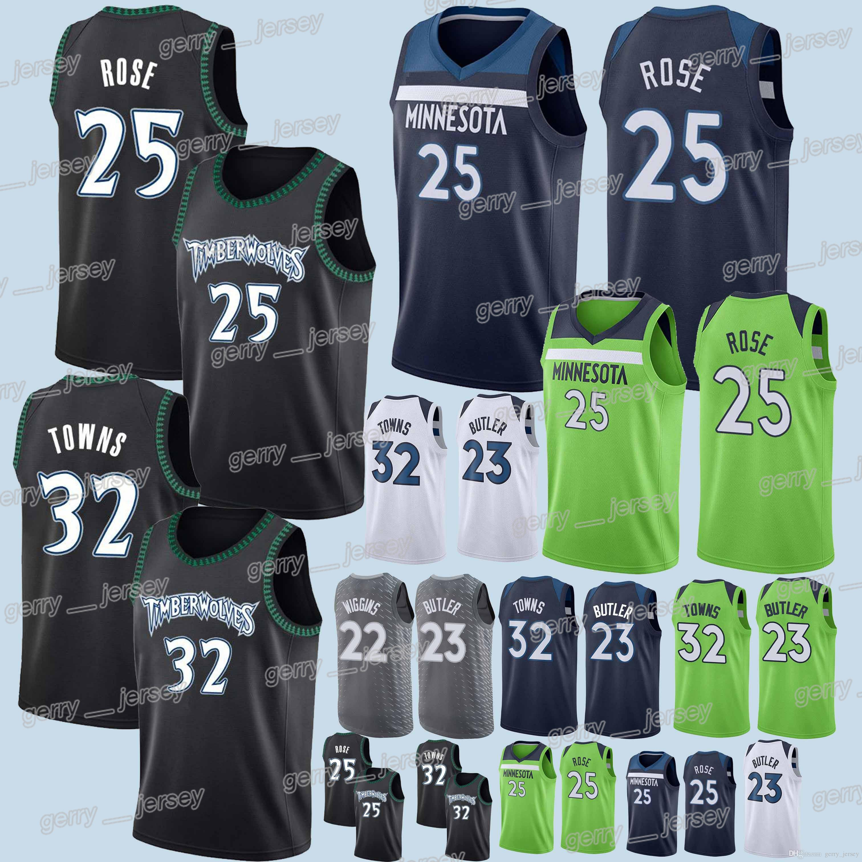 size 40 4d170 61879 Minnesota Timberwolves jersey 25 Derrick Rose 23 Jimmy Butler 22 Andrew  Wiggins 32 Karl-Anthony Towns 2018-2019 Jerseys