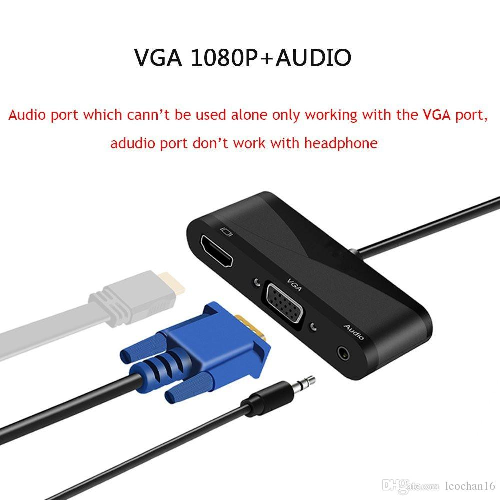 3 In 1 Full Hd 1080p Displayport Dp To Hdmi 4k2k Vga Audio Adapter Connector Wiring Converter For Laptop Tv Projector Monitor Computer Cables Electronic From