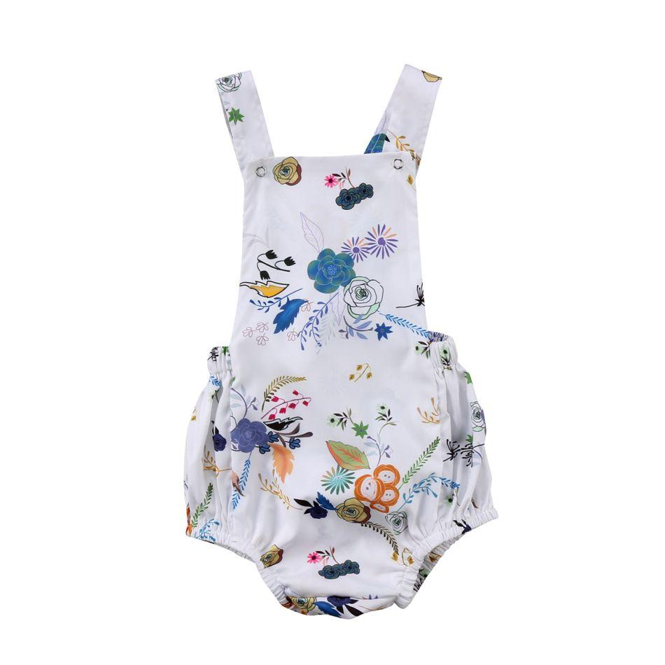 b2426060b013 2019 Infant Newborn Baby Girls Flower Wheat Romper Onesie Jumpsuit ...