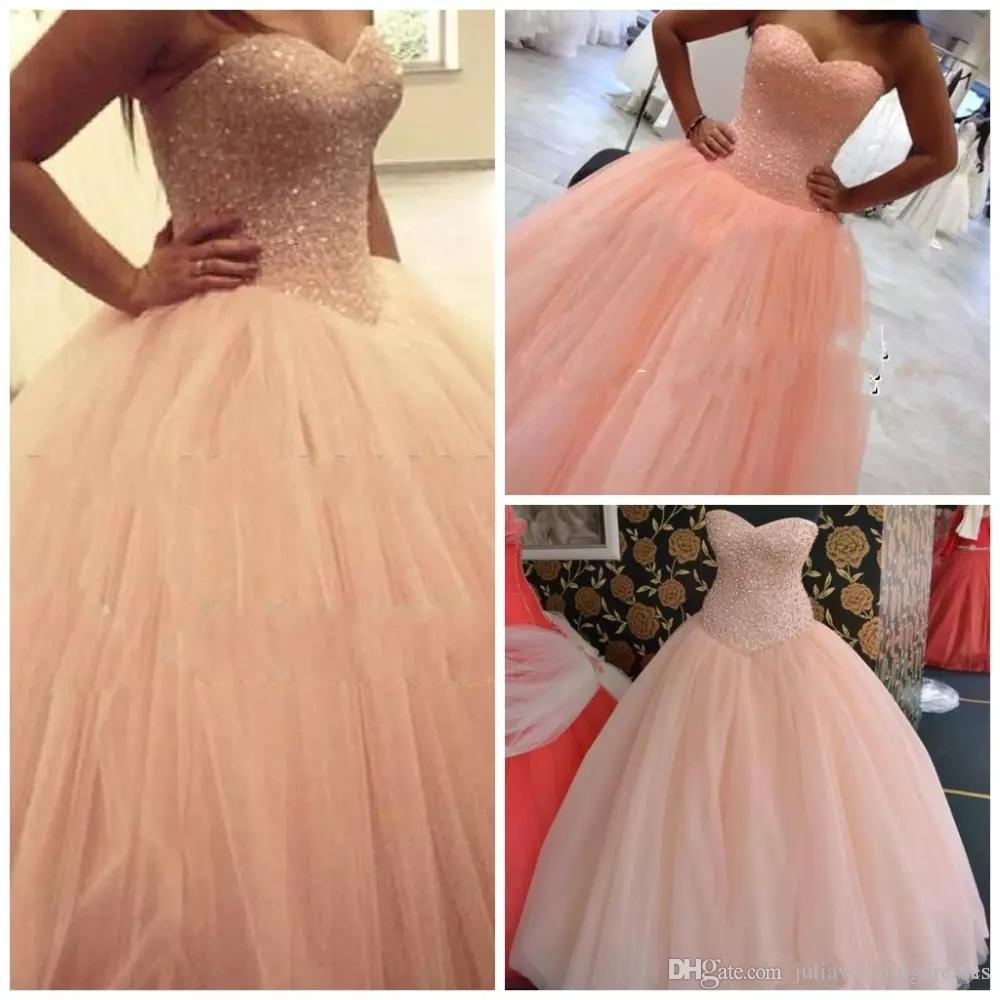 0481e67a9c 2018 Luxury Peach Princess Sweetheart Quinceanera Ball Evening Dress  Rhinestones Beads Tulle Floor Length Ball Gown Prom Party Gown QC1114 Long  Quinceanera ...