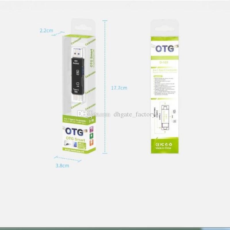 2020 جديد 3 في 1 USB 3.1 نوع C مايكرو USB OTG USB قارئ بطاقة قارئ مايكرو SDHC بطاقة الذاكرة عالية السرعة مع Pakcage و