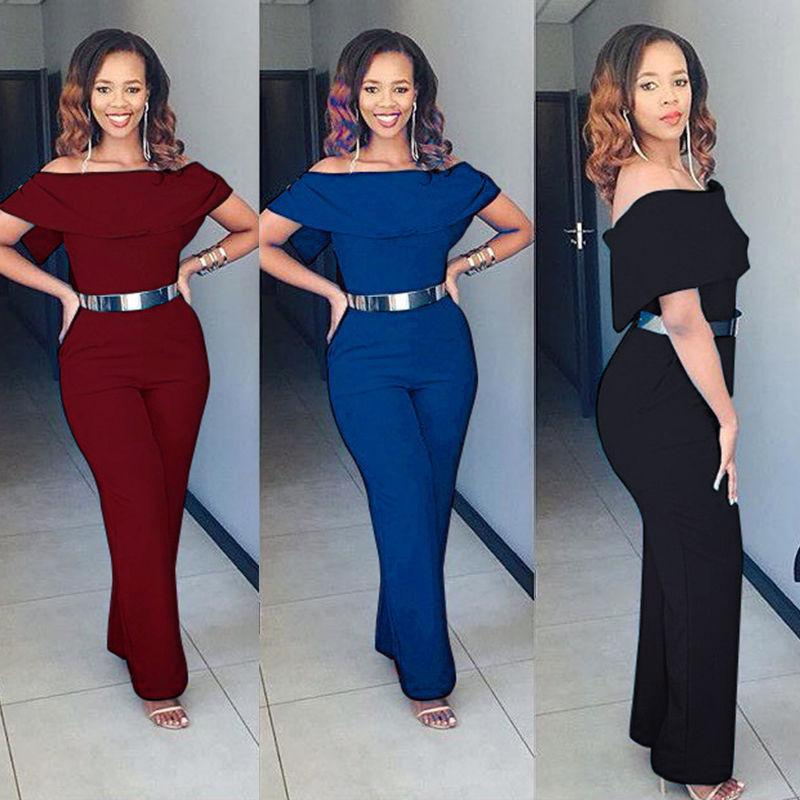 Fashion Sexy Casual Women Ladies Jumpsuit Short Sleeve Off Shoulder Ruffles  Solid High Waist Slim Long Pants Jumpsuit 3 Style UK 2019 From Liasheng09 7dee138ee