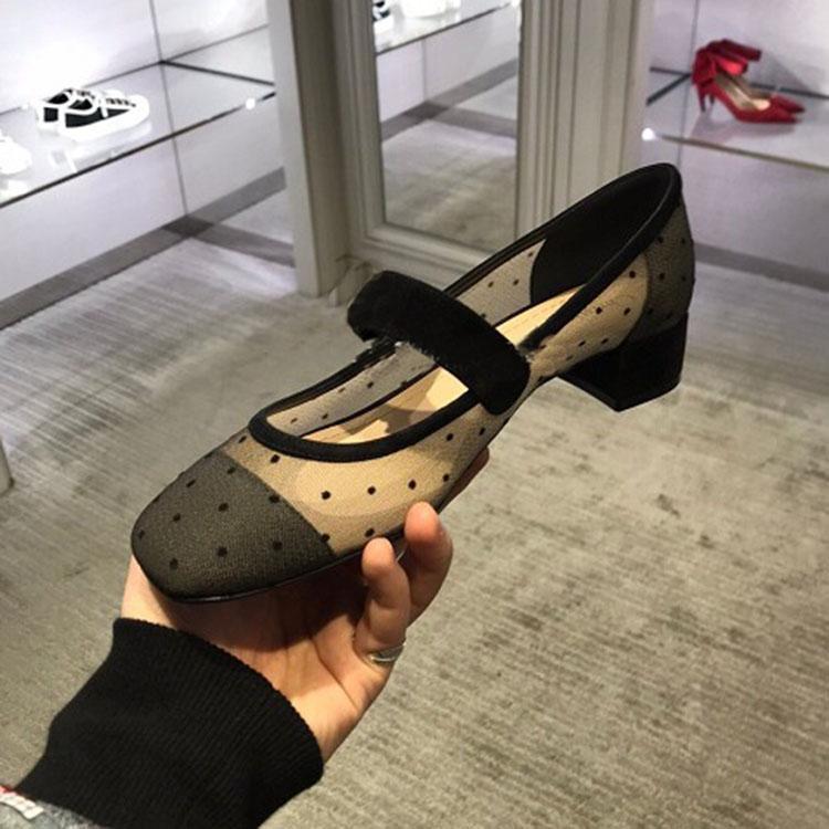 Frühling Sommer Newset Starke Ferse Grenadine Polka Dot High Heel Frauen Schuhe Spitze Aushöhlen Karree Schleife Sapato Feminino