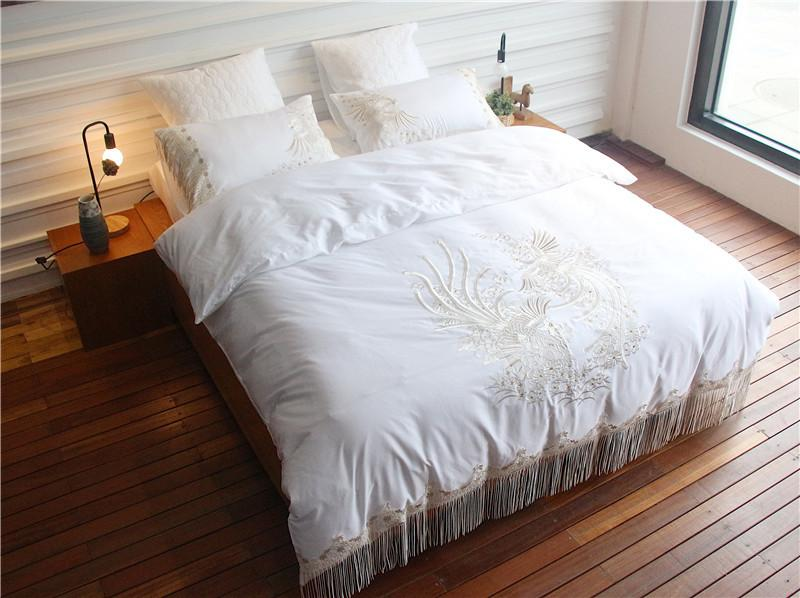 Egyptian Cotton Peacock Embroidered White Color Bedding Set King Queen Size Bed  Set Tassels Bedsheet Duvet Cover Set Cowboy Bedding Denim Duvet Cover From  ...