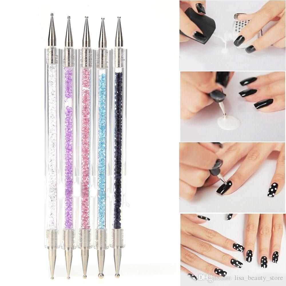 5pcs/set Acrylic 2 Ways Dotting Tool Nail Art Pen Colorful Rhinestone Nail  Decoration Painting Brush Nails Design Tools kit 3 Sets wholesale