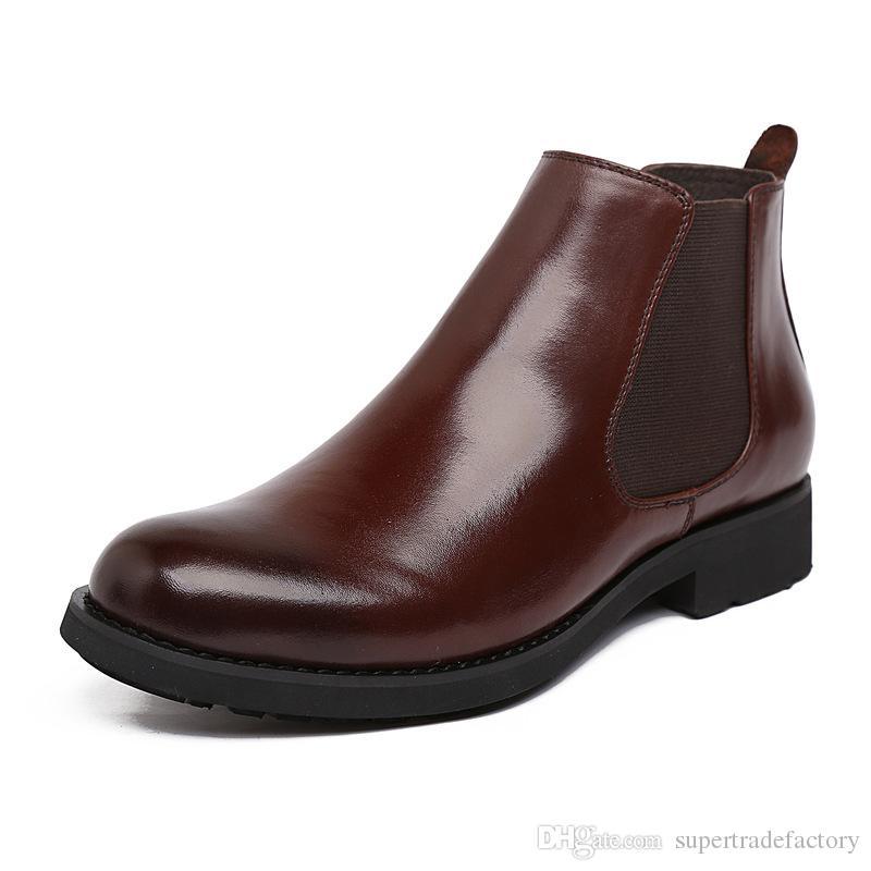 163809f0 Compre Italiano Para Hombre Botines De Cuero Genuino Hecho A Mano Negro  Marrón Oficina De Negocios Hombres Zapatos Invierno Hombre Martin Botas  Zapatos ...