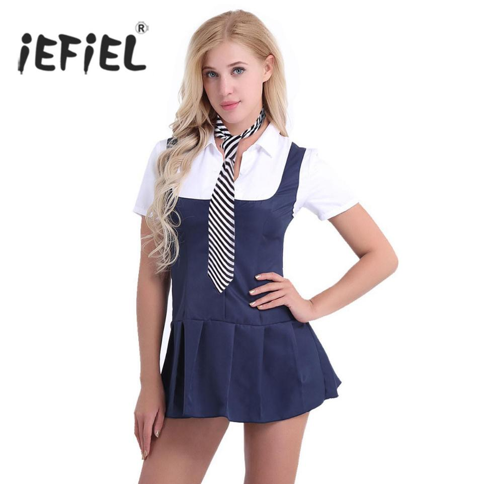 e0cced5c700 2019 Exy Costumes IEFiEL Sexy 2018 Women Adult Schoolgirl Student Fancy  Costume Uniform Short Sleeve Fancy Shirt Dress With Necktie Night Club.