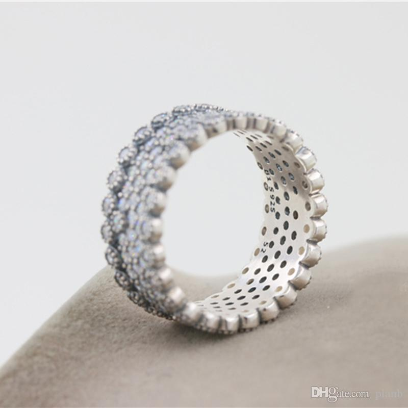 925 الاسترليني والفضة والمجوهرات RING ل باندورا سحر خاتم خمر مع واضحة تشيكوسلوفاكيا الماس أزياء المرأة خواتم مع المربع الأصلي