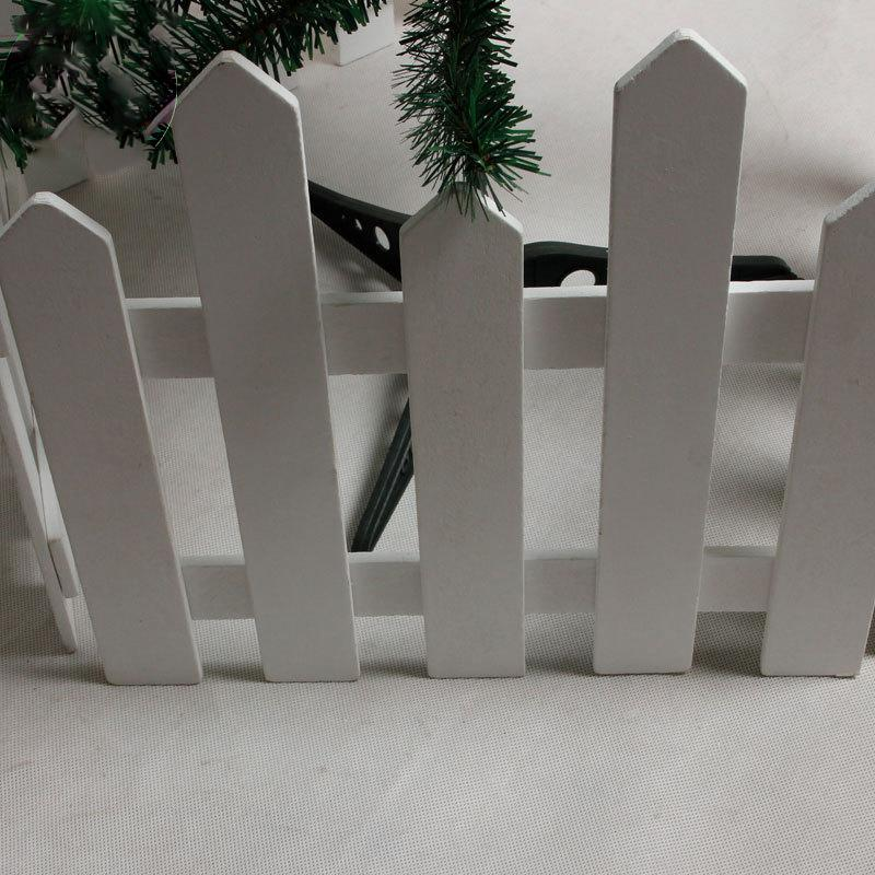 Creative Wood White Fence Xmas Railings Christmas Decoration Garden