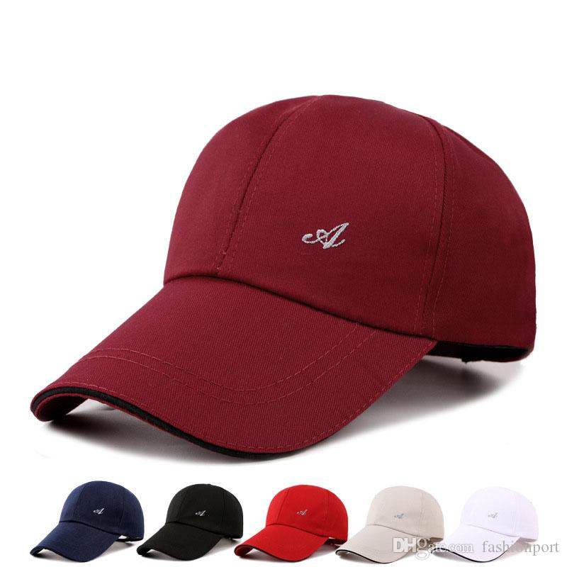 High Quality A Embroidery Baseball Caps Solid Curved Bill Low ... beaa9a2b8fa