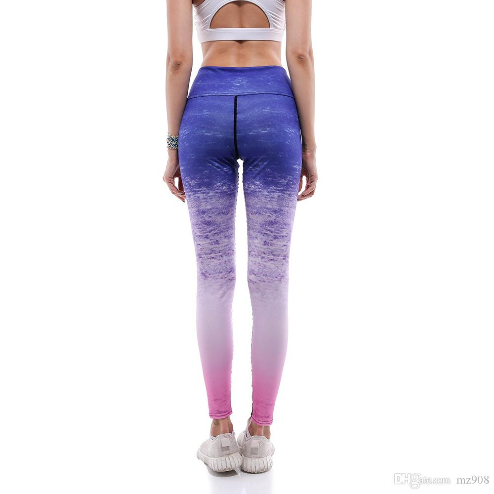 feb6e5280 2019 Women Yoga Pants Casual Fitness Leggings Print Stripe Gradient Colored  Harajuku High Waist Workout Push Up Plus Size Sports Pants From Mz908