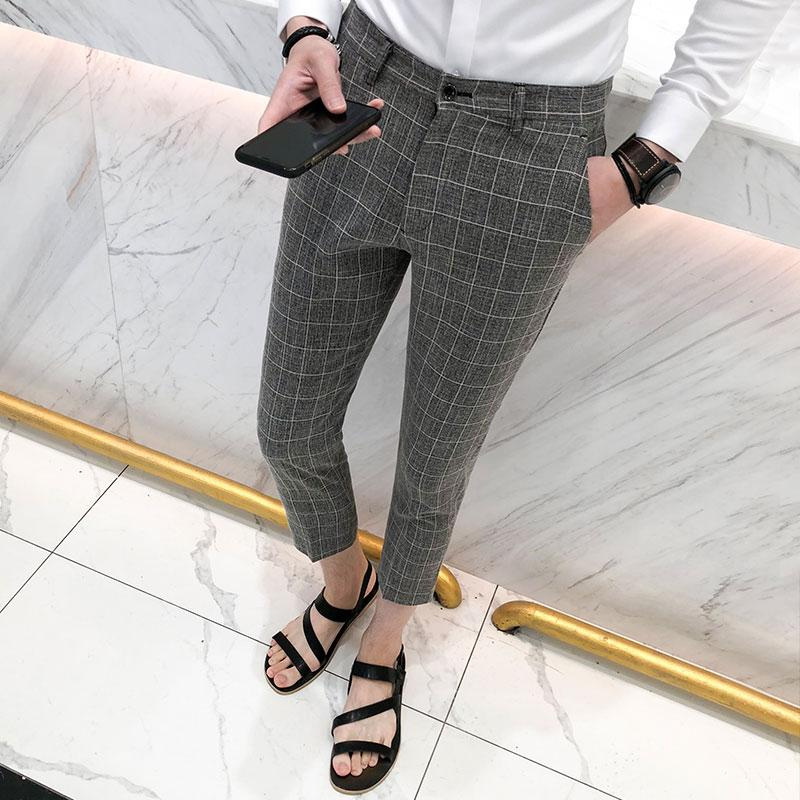 53b24199cb 2019 British Style Plaid Suit Pants Men Summer 2018 Slim Fit Casual Business  Dress Work Pant Ankle Length Gentlemen Trousers Male 3XL From Vickay, ...