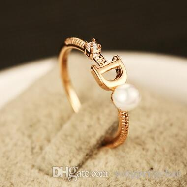 European Brand Gold Plated Letter D Ring Fashion Pearl Ring