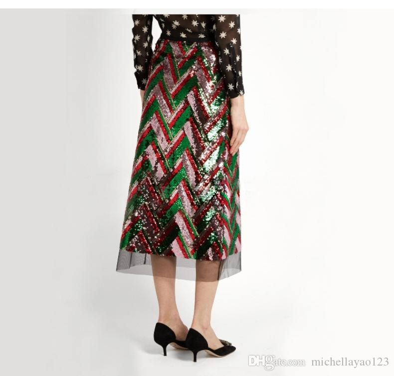 e760f48ec 2018 magníficas lentejuelas a rayas de colores mujeres cortas faldas  Blingbling faldas de moda para mujer falda sexy falda midi faldas m121709