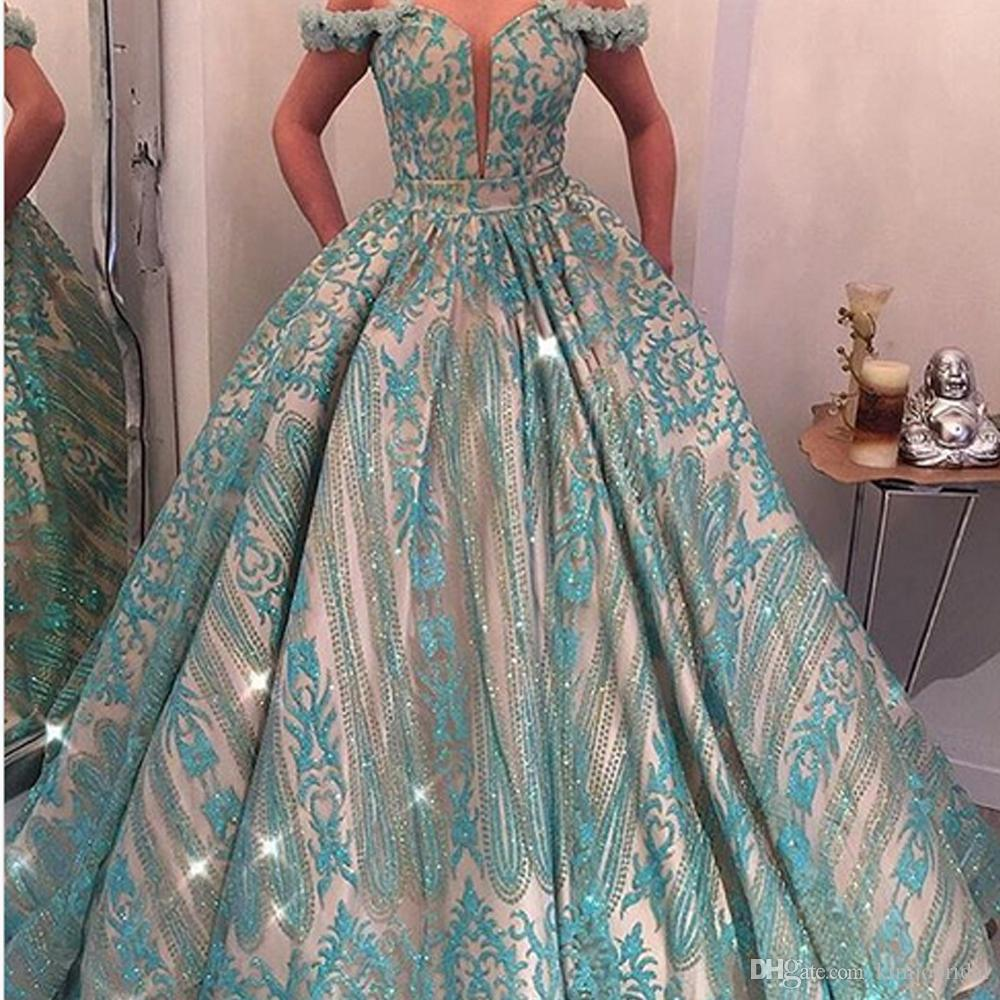 Lace Turquoise Prom Dresses Off the Shoulder 2018 Ball Gown Hand Made Flowers with Pocket Bling Bling Floor length Evening Dresses Arabic