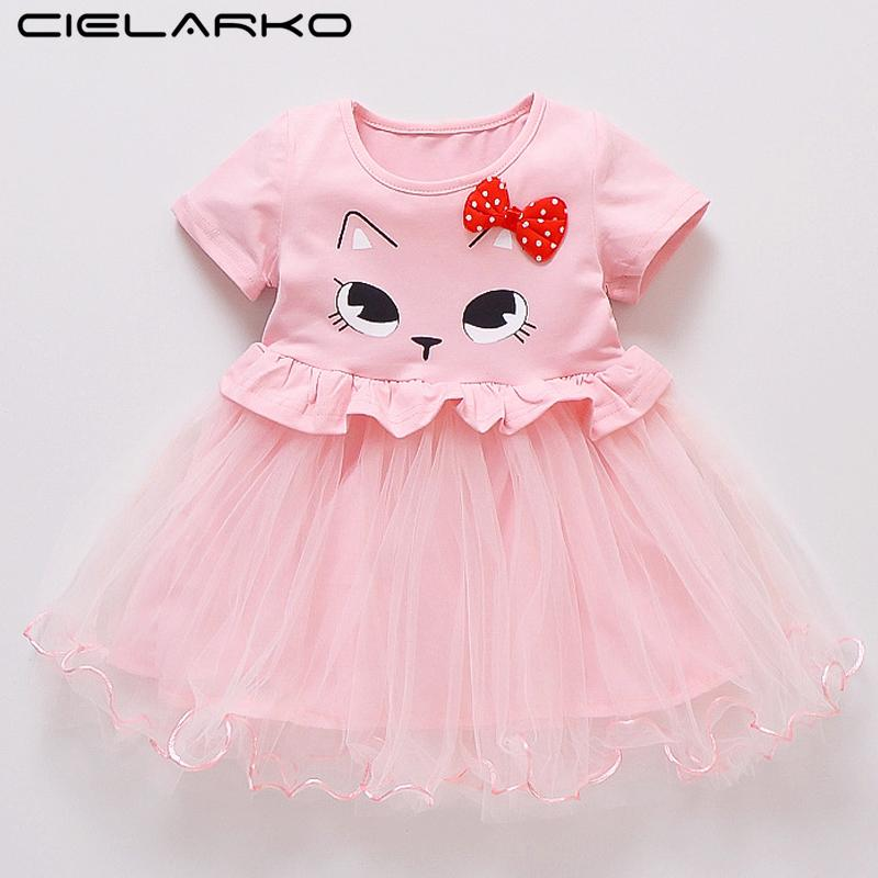 f6ee59115 2019 Cielarko Toddler Girls Dress Baby Cat Clothes Dresses Tulle Bow Design  Infant Fancy Frocks Summer Cartoon Newborn Girl Clothes From Benedicty, ...