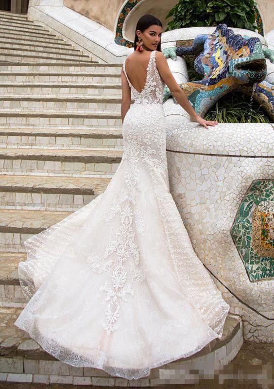 Milla Nova Train Détachable Robes De Mariée Sirène 2018 Modest Dentelle Organza Jardin Dubaï Arabe Overskirt Château De Mariage Robe De Mariée