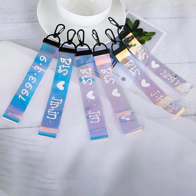 1PC Cute BTS Laser Lanyard Pendant Keychain Letter Print Phone Strap Key Chain Ribbon Keyrings Accessories