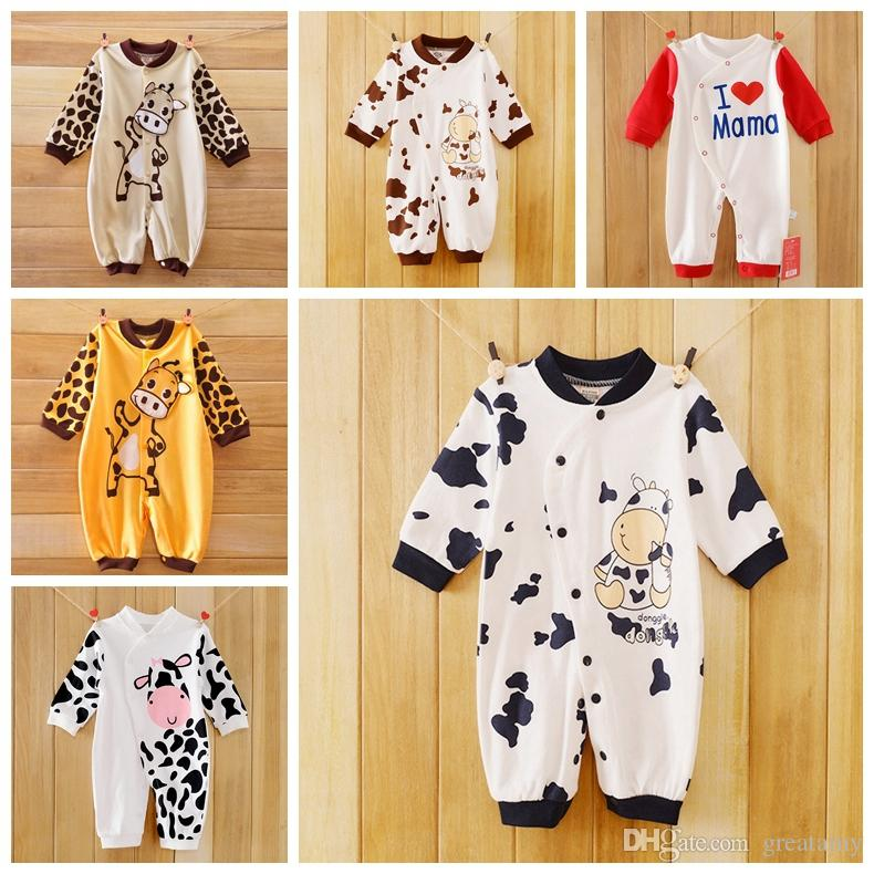 aa1f82d17a65 2019 Cow Newborn Girls Boys Clothes Jumpsuit Baby Outfit Infant Romper  Clothes 0 24 Months Baby Cute Animals Rompers From Greatamy