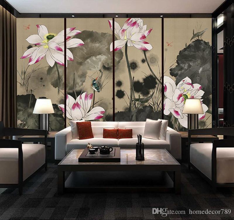 Özel 3d Fotoğraf Kağıdı Duvar Resimleri El-boyalı Lotus Klasik Çin Tarzı Duvar Oturma Odası Toplantı Odası için Dekoratif Boyama Duvar