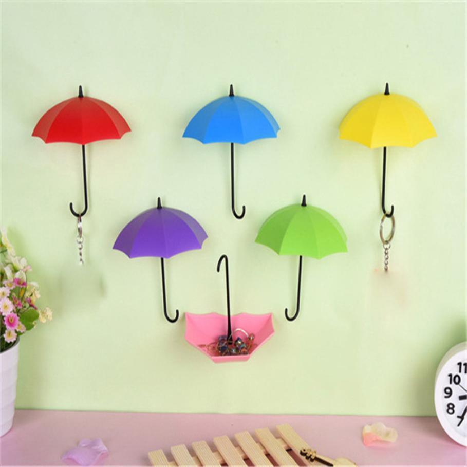 2018 Colorful Umbrella Shaped Storage Hook Adhesive Single Wall ...