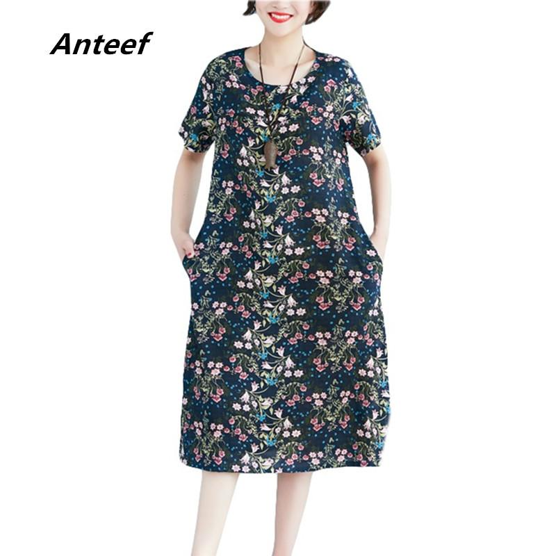 3df301b8189 2019 Anteef Cotton Linen Vintage Floral Print Clothes Women Casual Loose  Summer Dress Vestidos Femininos 2018 Dresses From Freea