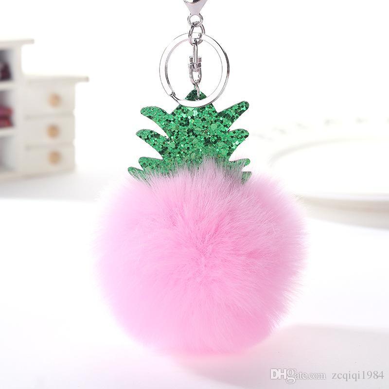 Charms Noel Ağacı Ananas Gümüş Anahtarlık Taklit Kürk Topu Ponpon Anahtarlıklar Dekoratif Araba Anahtarlık Zincirleri