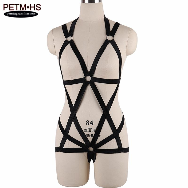 2019 Womens Pastel Goth Body Harness Cage Bondage Garter Belt Black Elastic  Strappy Lingerie Festival Exotic Apparel Party Dance Wear From Aidior001 fe138ed51
